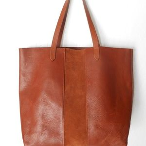 Madewell Suede Stripe Transport Leather Tote